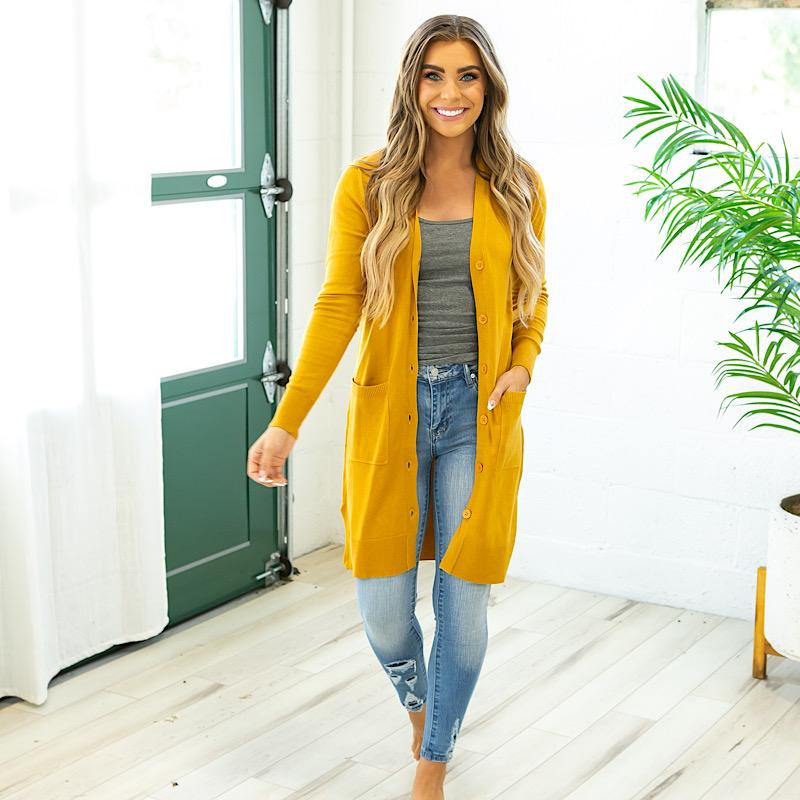 Image of NEW! Long Button Up Cardigan - Mustard