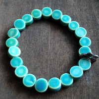 Blue Green Ceramic Stretch Bracelet - Power Bracelet