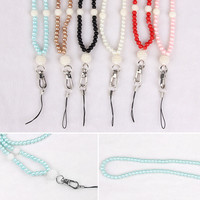 Cell Phone Faux Pearl Ring Lanyard Neck Strap For iPhone 7 For Samsung ID Card PSP MP3