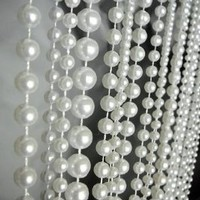 3 Ft X 6 Ft Ball Chain Beaded Curtain - Room Divider Pearl White great idea for Wedding Chandeliers Centerpieces Decorations and any Event Party Décor