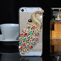 """iPhone 6 Case, MC Fashion Peacock Crystal Rhinestone 3D Diamante Hard Shell Phone Case Compatible for Apple iPhone 6 4.7"""" (2014) ONLY (Multicolor)"""