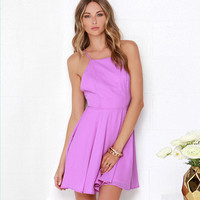 Cross Halter Mini Skater Dress
