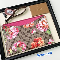 Gucci Flower Wrist Bag Handbag Floral Wallet Rose red
