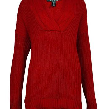 Lauren Ralph Lauren Women's Cable Knit V-Neckline Sweater