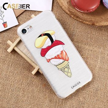 CASEIER Cute Sushi Phone Case For iPhone 6S 6 7 8 Soft Silicone Patterned Back Cases For iPhone X 5s 5 SE Ultra Thin Cover Capa