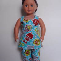 American Girl Doll Clothes.  Doll clothes for 18 inch dolls, Pajamas for American Girl doll.