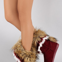 Asymmetrical Fur Collar Suede Round Toe Flat Boots