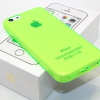 DIGIWAVES U.S.A. - (NEON GREEN) The Super Slim and Durable Protective TPU Clear See-Thru Jelly Soft Smooth Back Cover Unique Case For iPhone 5C Scratch-Resistant Slim Light Weight Case