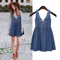 Women's Trending Popular Fashion 2016 Summer Beach Holiday Jeans Spagehetti Strap Strappy Solid Casual Party Playsuit Clubwear Bodycon Boho Dress _ 5529