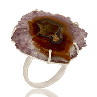 Handmade 925 Sterling Silver Amethyst Stalactite Druzy Prong Set Cocktail Ring