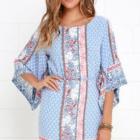 Kimono Crush Blue Print Dress