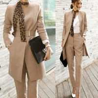 2 Piece Set Women Clothing 2017 Formal Office Wear Blazer Jacket Tops and Ankle Length Skinny Pants Women Suits Two Piece Set