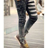 Men's Stars Print Skinny Stretchy Washed Denim Pencil Pants Jeans Trousers yj428