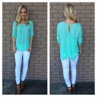 Mint Cross Back 3/4 Sleeve Blouse