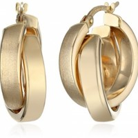 14k Yellow Gold Satin and Polished Crossover Hoop Earrings @ Jewelry Wonder