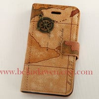 Iphone 4 Case, iPhone 4s Case, vintage map pu leather iPhone 4 Case