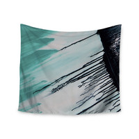 """Steve Dix """"Extractions"""" Teal Black Wall Tapestry"""