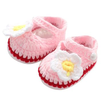 Baby Girl Shoes Toddler Princess Flower First Walkers Shoes For Kids Girls born Pre walker Soft Soled Shoes Knitting Footwear