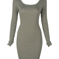 Sage Green Long Sleeve Back Cross Cut Out Bodycon Dress