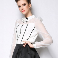 White Striped Flower Pointed Flat Collar Mesh Long Sleeve Chiffon Top
