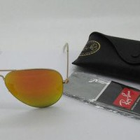 Cheap Ray Ban RB3025 Aviator large Metal 112/69 Gold Orange Mirror Lens sunglasses
