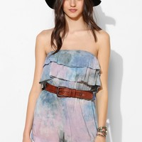 Blue Life Silky Strapless Ruffle-Top Romper - Urban Outfitters