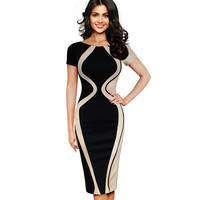 Casual Women Colorblock Contrast Short Sleeve Office Business Career Sheath Pencil Bodycon Stretch Patchwork Summer Dresses B315