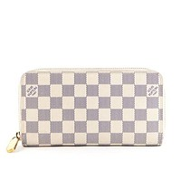 LV Fashion Hot Handbags Long Zipper Wallet for Men and Women White lattice