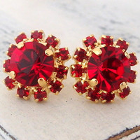 Red Swarovski crystal stud earrings, Deep red ruby stud earrings, Bridal earrings, ruby studs, Bridesmaids gift, gold studs, gift for her