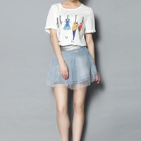 Graphic Clothes T-Shirt and Denim Lace Skirt