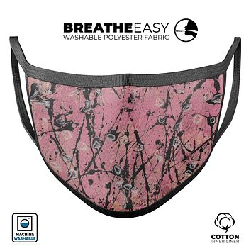 Abstract Wet Paint Pink and Black - Made in USA Mouth Cover Unisex Anti-Dust Cotton Blend Reusable & Washable Face Mask with Adjustable Sizing for Adult or Child
