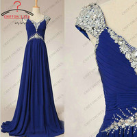 Cap short sleeves crystal and beaded long ruffled royal blue chiffon prom / evening /cocktail/ pageant dress for wedding party