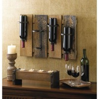 Wood And Metal Wine Bottle Display Wall Mount Rack Decor