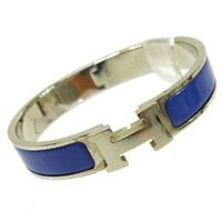 Auth HERMES Vintage H Logos Clic Clac Bangle Silver Blue Accessories AK16083