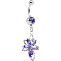 Purple Cubic Zirconia Double Flower Dangle Belly Ring | Body Candy Body Jewelry