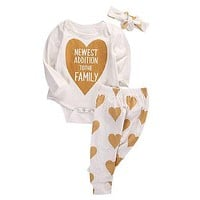 3 PCS Autumn Spring New Infant Boys Girls Gloden Heart Cotton Romper Pants 3pcs Baby Coming Home Outfits Set