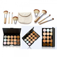 New 15-Color Concealer Palette & 4pcs Bamboo Handle Brush Kit + Free Shipping