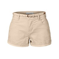 Summer Cotton Denim Jean Shorts with Faux Leather Belt (CLEARANCE)