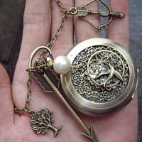 The Hunger Games ,Inspired Mockingjay ,peeta's pearl,tree and Arrow skeleton pocket watch Necklace -antique brass