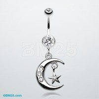 Glistening Moon and Star Belly Button Ring