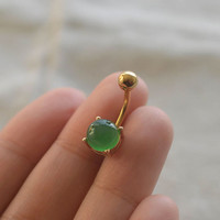 belly ring jade navel ring 14k gold jade gemstone,belly button jewelry