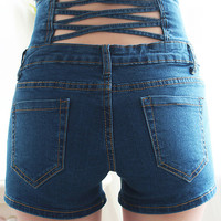 Blue High Waist Cutout Denim Shorts