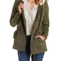 Olive Anorak with Detachable Faux Fur by Charlotte Russe