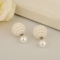 7 Colors Brand New Intimation Pearl Stud Earrings for Women Double Side Grape Shpe Ball Brincos Cute Girl Christmas Gift E1499