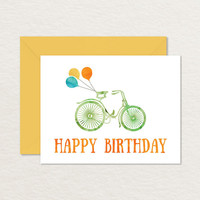 Watercolor Bicycle Printable Birthday Card A2