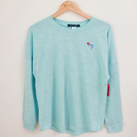 Dolphin Embroidery Patch Crop Long Sleeve Tee