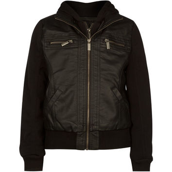 Full Tilt Fleece Sleeve Girls Faux Leather Jacket Black  In Sizes