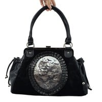 Gothic Vamp Flying Bats Black Velvet Cameo Snap Lock Handbag