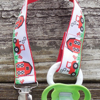 Tractors and Barn Farm Ribbon, Red Pacifier Holder, Binky Clip, Pacifier Clip or Toy Clip