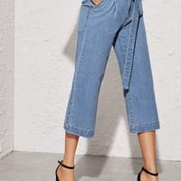 Belted Capris Wide Leg Jeans